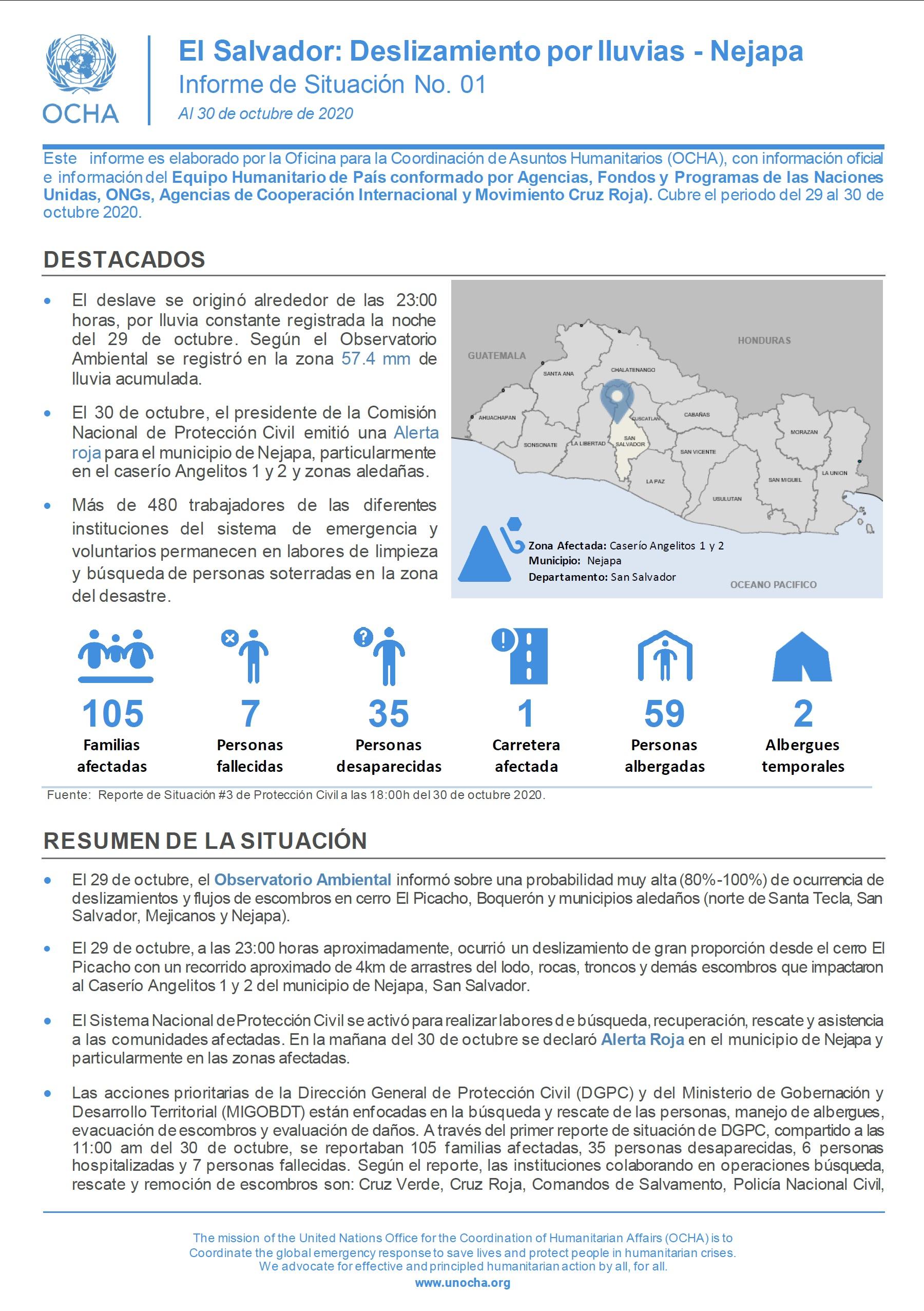 Informe de situación No.1: deslave por lluvia en Nejapa
